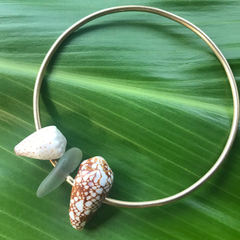 CONE SHELL + SEAGLASS BANGLE