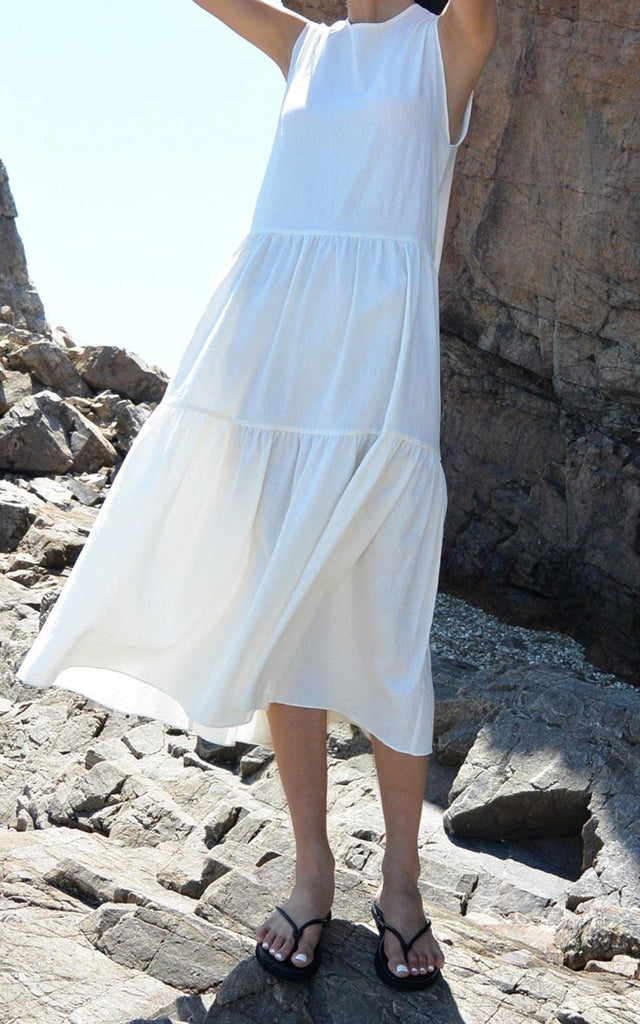 Linen Dress With Ruffled Hem