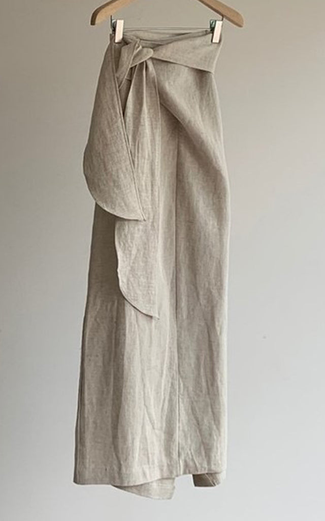 Linen Wrap Long Skirt