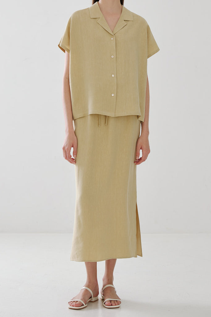 Row Linen Shirt & Skirt Set