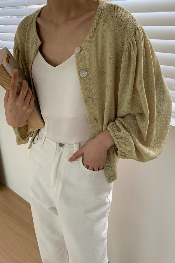 Shirring Short Cardigan