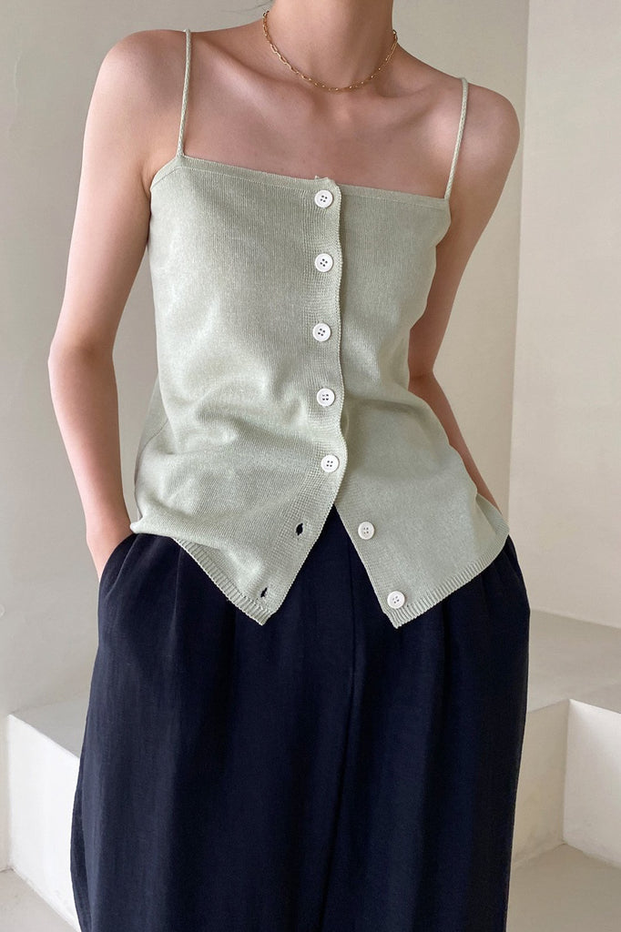 Two Way Linen Button Top