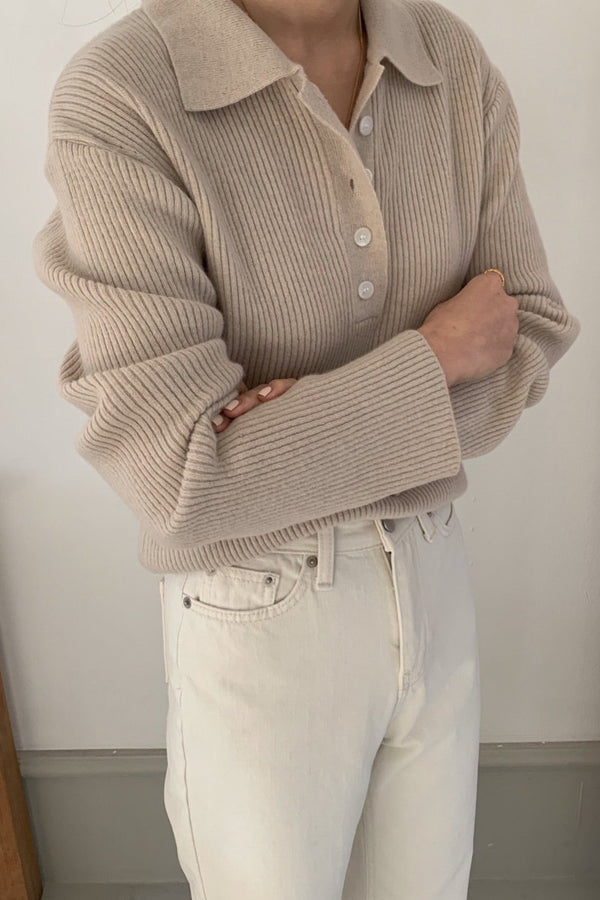 Tidy Button Collar Knit