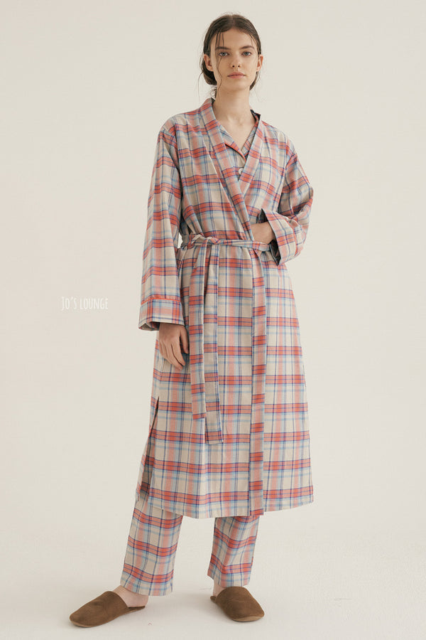 Coral Plaid Robe