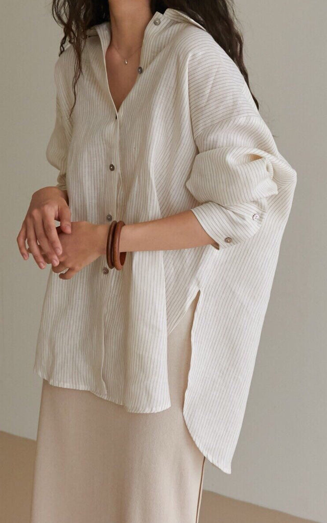 Oversized Linen Stripe Shirt