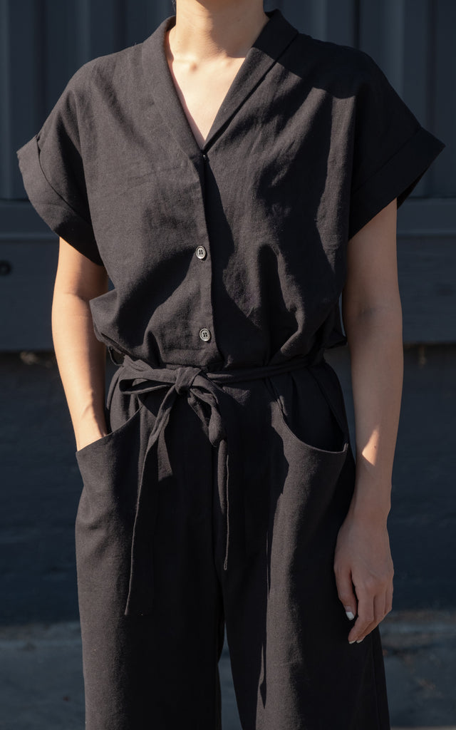 Short Collar Jumpsuit