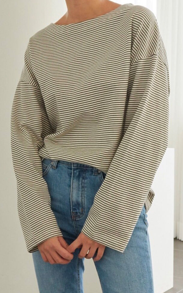 Oversized Stripe Sweat Shirt