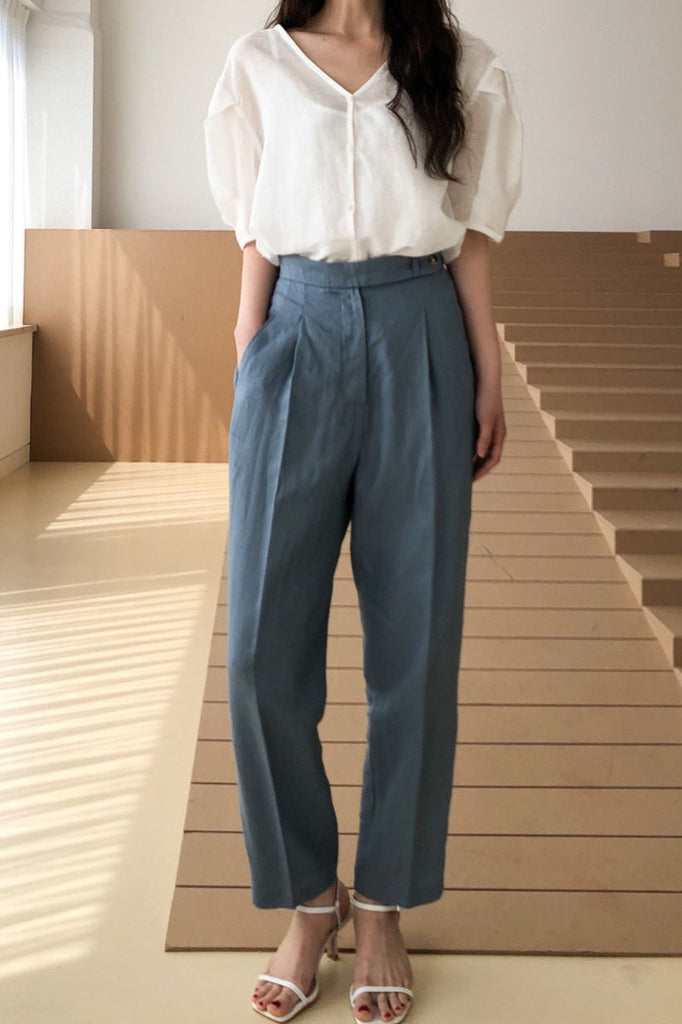 Linen Button Slacks