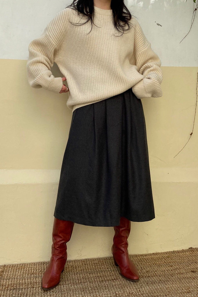 Wool Pintuck Skirt