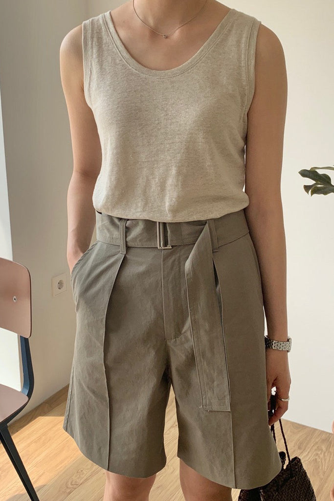 Belted Midi Short Pant