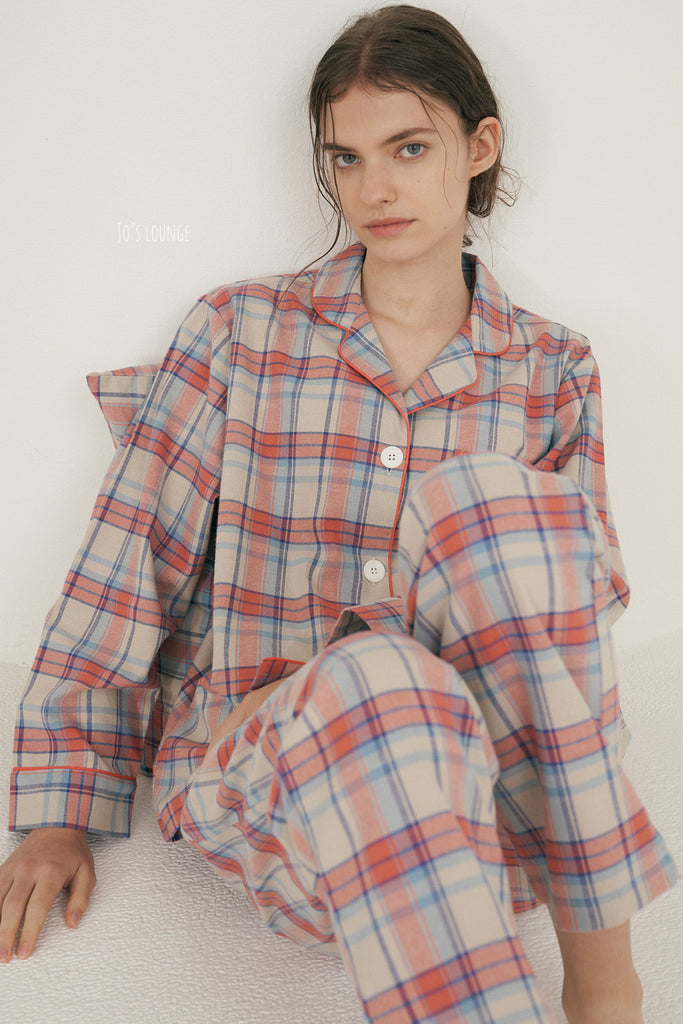 Coral Plaid Pajama Set