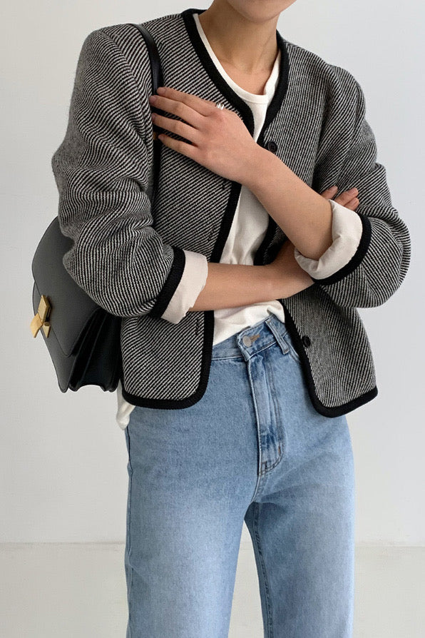 Round Neck Wool Jacket