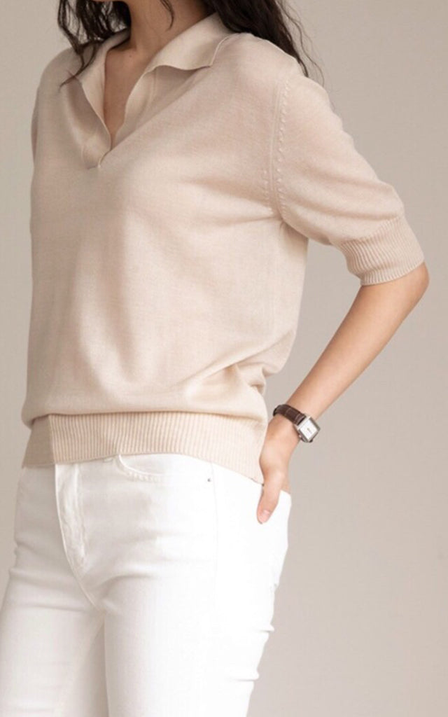 Tencel Collar Knit Top
