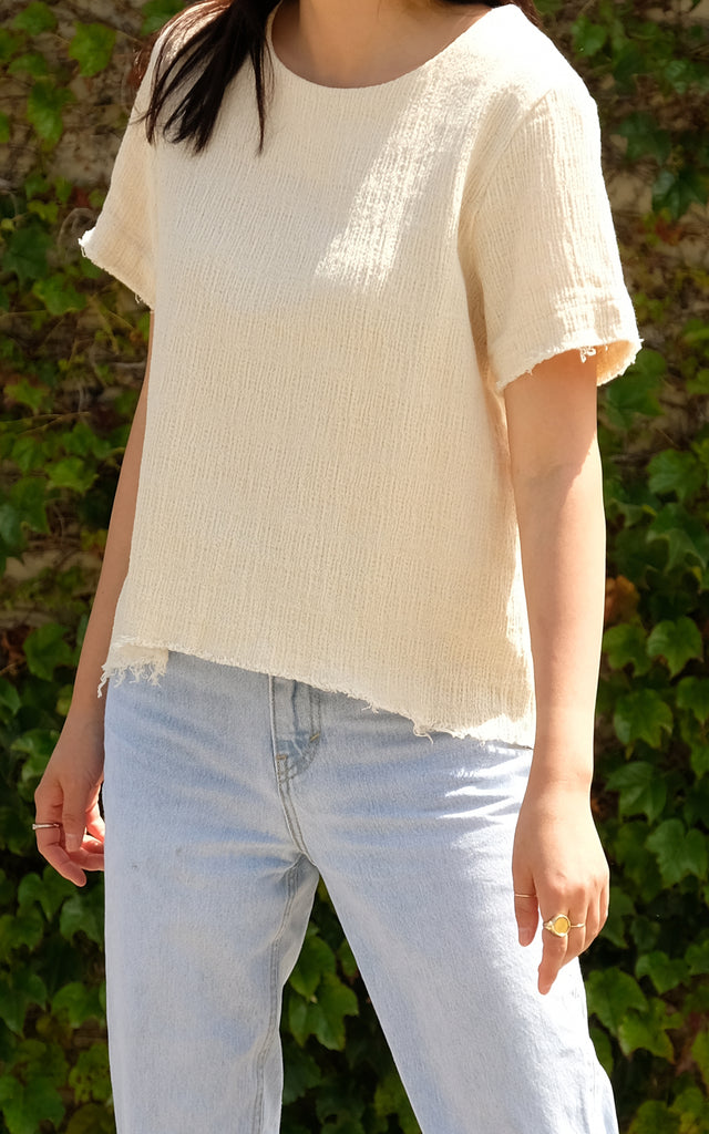 Natural Short Slv Top