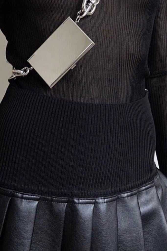 Leather Contrast Pleated Skirt