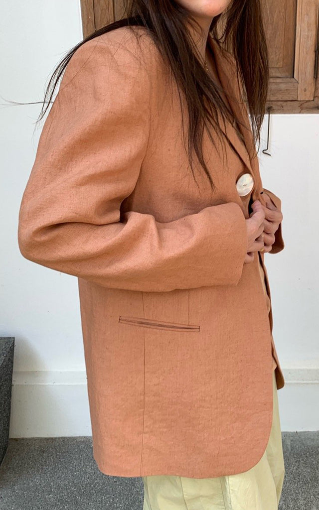 One Button Linen Jacket