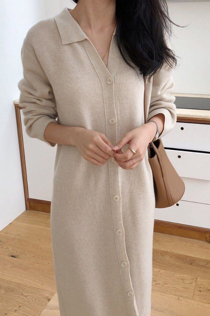 Feminine Collar Knit Dress