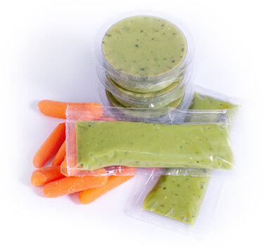 guacamole packets with carrots