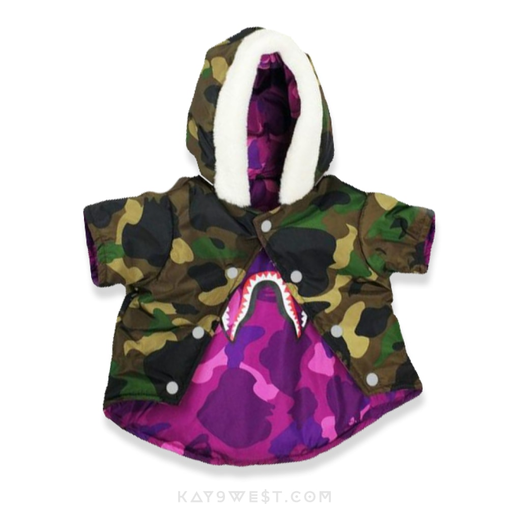A Bathing Pup Reversible Shark Camo Jacket Camouflage / L Pet Apparel