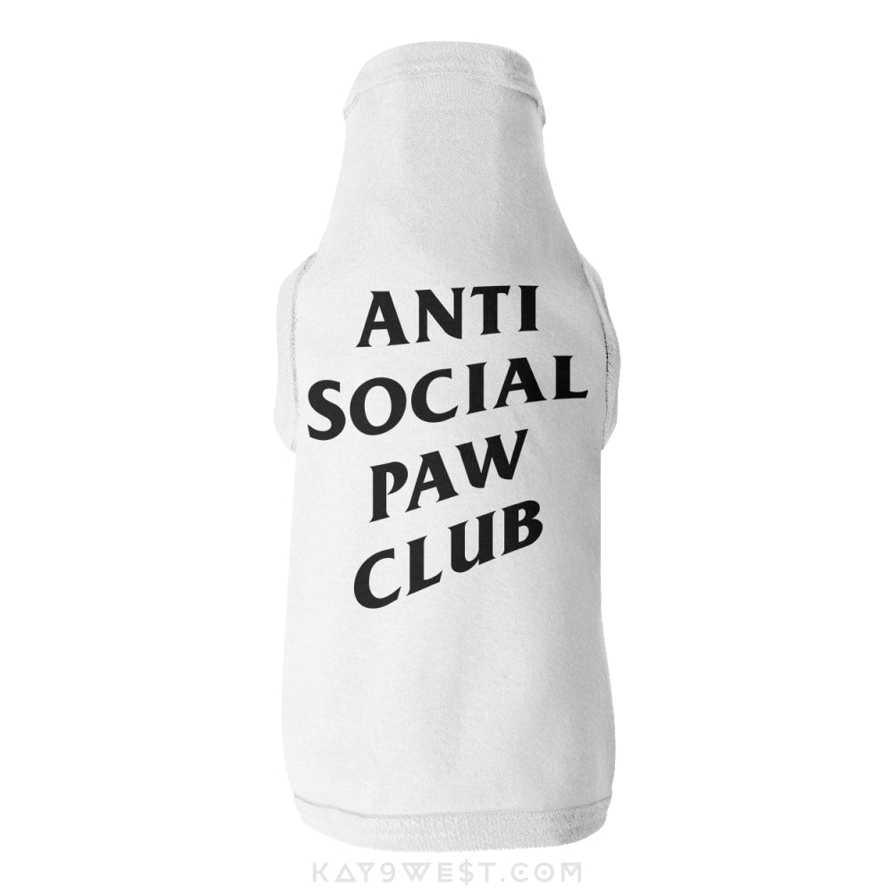 Anti Social Paw Club Logo Tank White / Xs Pet Apparel