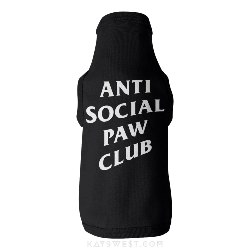 Anti Social Paw Club Logo Tank Xs / Black Pet Apparel