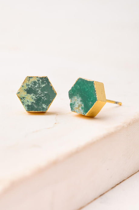 Turquoise Hexagon Earrings 18K Gold - Cause-ology