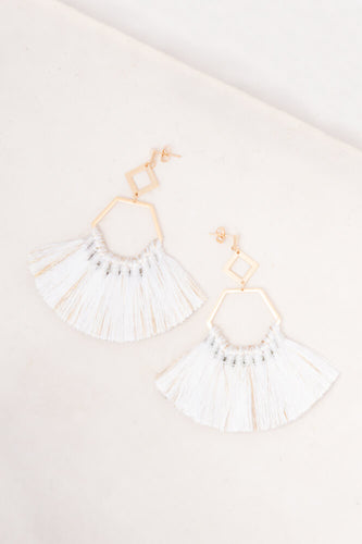 White Tassel Earrings 18K Gold - Cause-ology