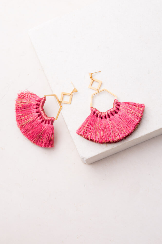 Rose Tassel Earrings 18K Gold - Cause-ology
