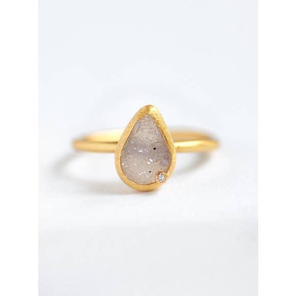 Modern Chic - Teardrop Druzy Ring - 18k gold plated - Cause-ology