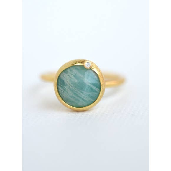 Modern Chic - Amazonite Ring - 18k gold plated