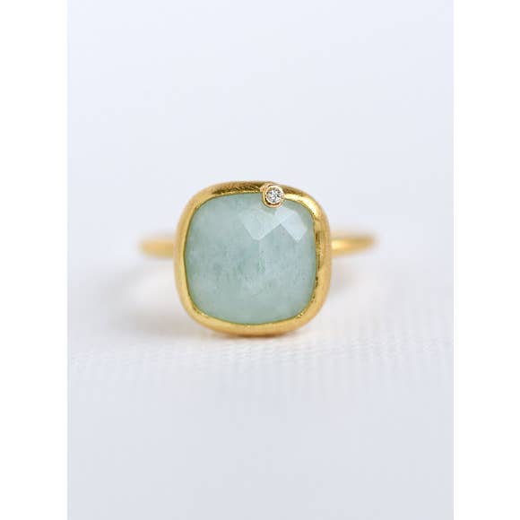 Modern Chic -  Square Amazonite Ring - 18k gold plated