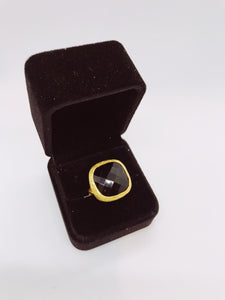 Modern Chic - Black Labradorite Cocktail Ring - 18k gold plated
