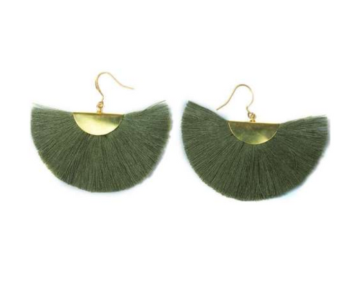 Color Me Beautiful -  Olive Fringe Earrings - Cause-ology