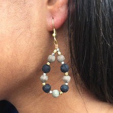 Load image into Gallery viewer, Kantha Noir Teardrop Earrings - Cause-ology