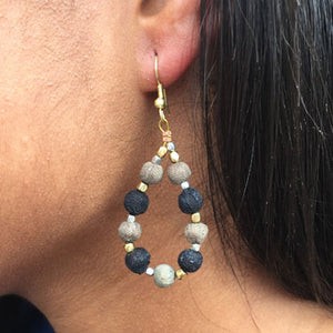 Kantha Noir Teardrop Earrings - Cause-ology