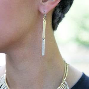 Double Linear Earrings - Gold/Silver - Cause-ology
