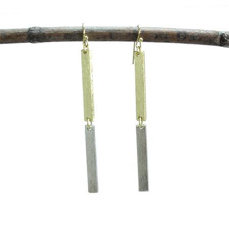 Modern Chic Double Linear Earrings - Gold/Silver - Cause-ology