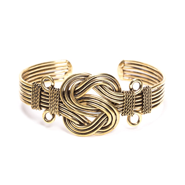 Tribal Fresh - Infinity Knot - Gold Cuff Bracelet - Cause-ology