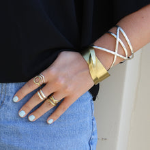 Load image into Gallery viewer, Tribal Fresh - Linear X Cuff Bracelet - Gold - Cause-ology