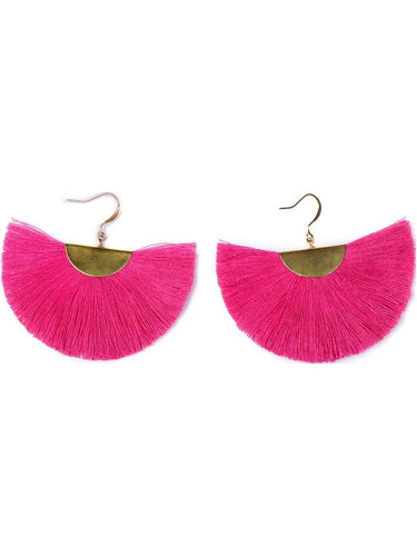 Color Me Beautiful -  Pink Fringe Earrings - Cause-ology