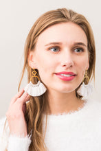 Load image into Gallery viewer, White Tassel Earrings 18K Gold - Cause-ology