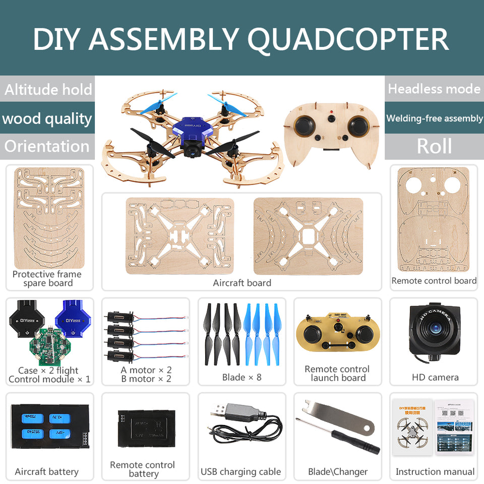 DIY Wooden Drone Qudacopter with 720P/480P camera – trendiclick
