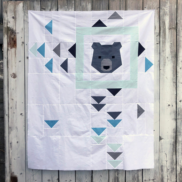 """Hello Bear"" Baby Quilt Top with Confetti Cottons"