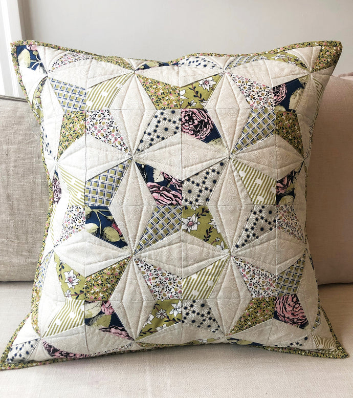 Kaleidoscope Quilted Pillow with Sweet Stems Fabric