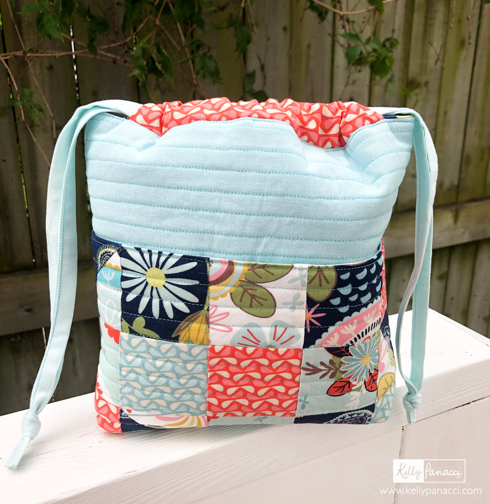 Small Lined Tote with Vintage Trailers Print
