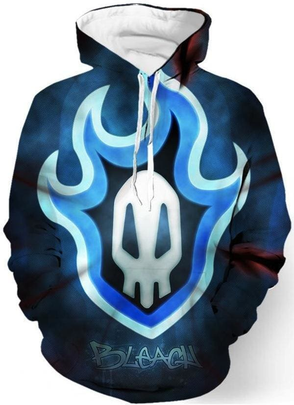 Anime Hoodies - Glowing Skull Logo 3D Pullover - Bleach Clothes