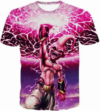 Dragon Ball Shirts - Kid Buu Pink Fireball - Anime Clothes