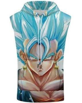 Dragon Ball Super - Goku Blue Saiyan Hooded Tank Top - Anime Clothing
