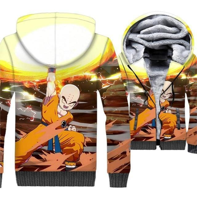 Dragon Ball Z Jacket - Krillin Fleece Jacket - Anime Clothes