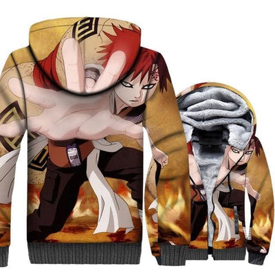 Naruto Clothing - 3D Gaara Fleece Jacket - Anime Clothes